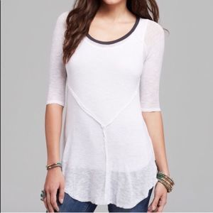 Free People Weekend Layering White Tee Top Small